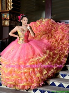 Amazing Pink And Yellow Sleeveless Court Train Beading and Appliques and Ruffled Layers With Train Quinceanera Gowns