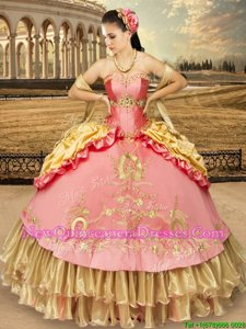 Pink And Yellow Sweetheart Lace Up Beading and Embroidery and Pick Ups 15 Quinceanera Dress Sleeveless