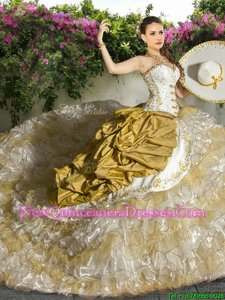Fashionable White and Champagne Lace Up Sweetheart Beading and Ruffled Layers Quinceanera Gowns Organza and Taffeta Sleeveless