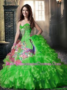 Printed Green Lace Up Quinceanera Dress Beading and Ruffles and Pattern Sleeveless Floor Length