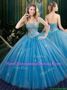 New Arrival Baby Blue Ball Gown Prom Dress Military Ball and Sweet 16 and Quinceanera and For withBeading and Sequins Sweetheart Sleeveless Lace Up
