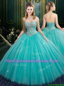 Elegant Sequins Sweetheart Sleeveless Lace Up Ball Gown Prom Dress Aqua Blue Tulle and Sequined