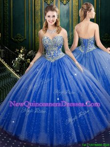 Fitting Blue Sweetheart Lace Up Beading and Sequins Sweet 16 Dresses Sleeveless