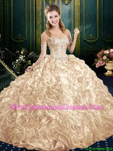 Fancy Champagne Ball Gowns Fabric With Rolling Flowers Sweetheart Sleeveless Beading and Ruffles Lace Up 15th Birthday Dress Court Train
