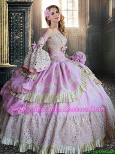 Strapless Long Sleeves Taffeta Sweet 16 Dress Lace and Appliques Lace Up