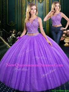 On Sale Scoop Sleeveless Tulle and Lace Floor Length Lace Up Sweet 16 Quinceanera Dress inLavender withLace and Appliques and Ruching