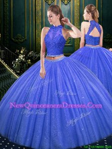 Flirting Sleeveless Floor Length Lace and Appliques Lace Up Quinceanera Dress with Blue