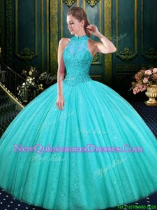 Sophisticated Aqua Blue Ball Gowns Lace and Appliques 15 Quinceanera Dress Lace Up Tulle Sleeveless Floor Length