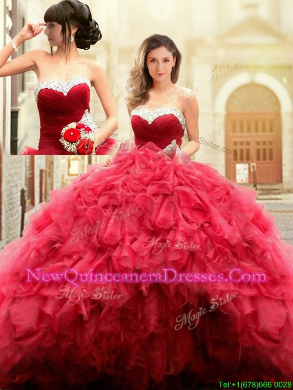 Chic Red Ball Gowns Sweetheart Sleeveless Tulle Floor Length Lace Up Beading and Ruffles Quinceanera Gowns
