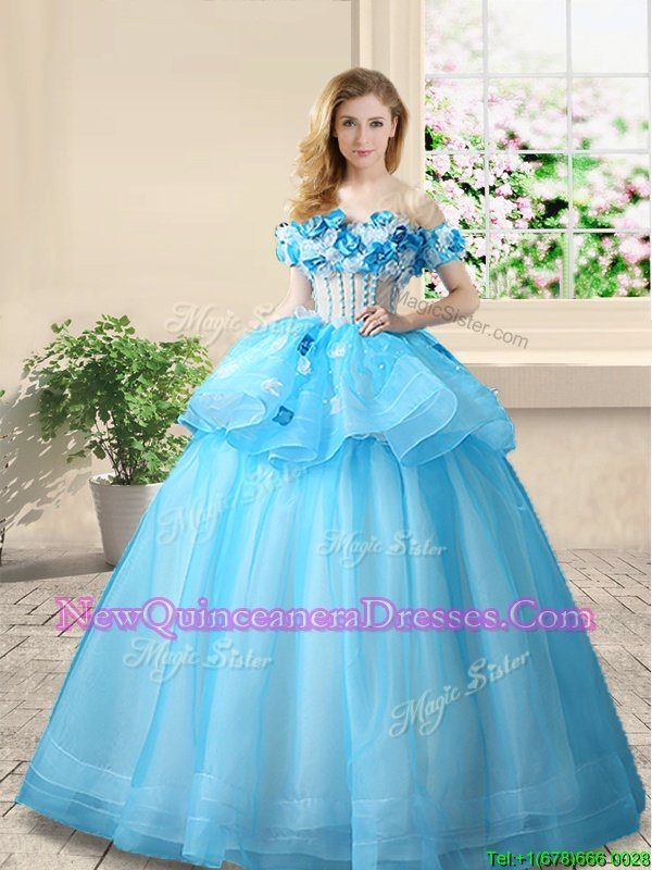 Glamorous Off the Shoulder Baby Blue A-line Beading and Appliques Quinceanera Gowns Lace Up Organza Sleeveless Floor Length