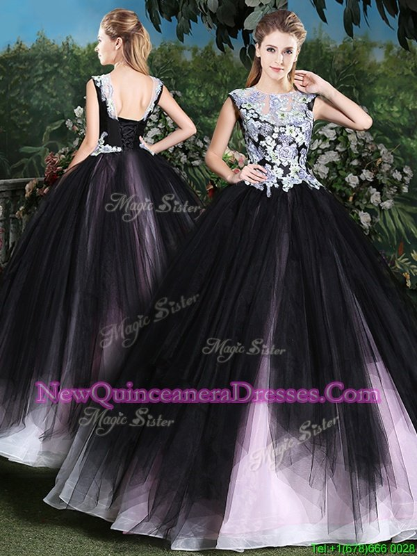 Flare Scoop Pink And Black Sleeveless Floor Length Appliques and Ruffles Lace Up Quinceanera Dresses