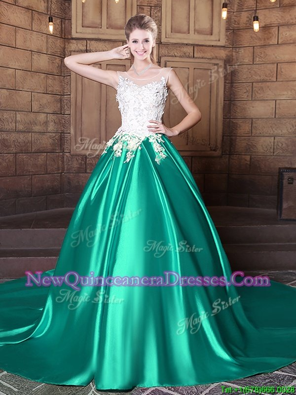 Deluxe Scoop Spring and Summer and Fall and Winter Elastic Woven Satin Sleeveless With Train Quinceanera Gowns Court Train andLace and Appliques