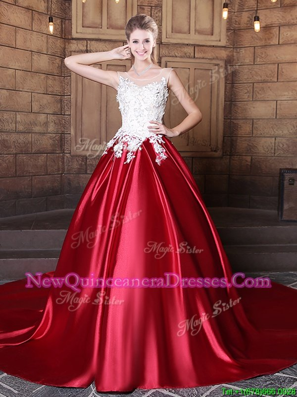 Superior Scoop Wine Red Lace Up Vestidos de Quinceanera Lace and Appliques Sleeveless Floor Length