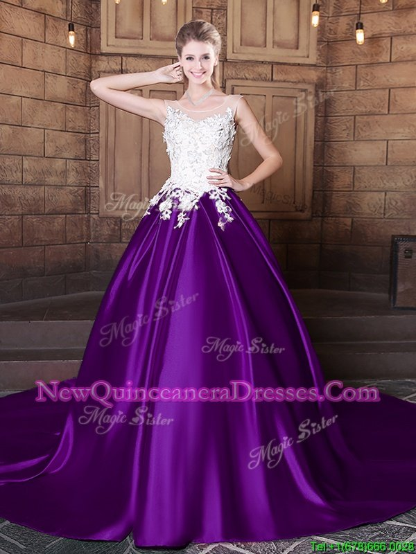 Exquisite Scoop Purple Quinceanera Gown Elastic Woven Satin Court Train Sleeveless Spring and Summer and Fall and Winter Lace and Appliques
