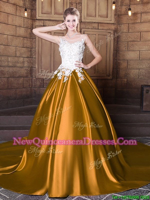 On Sale Scoop Sleeveless Court Train Lace Up Sweet 16 Dress Gold Elastic Woven Satin
