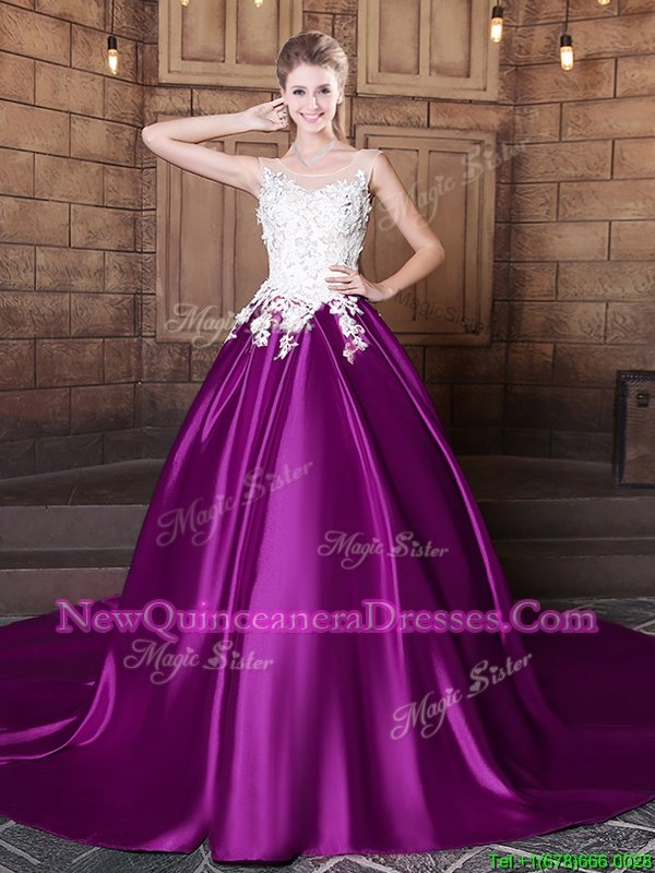 Customized Scoop Sleeveless Court Train Lace Up Quinceanera Dress Eggplant Purple Elastic Woven Satin
