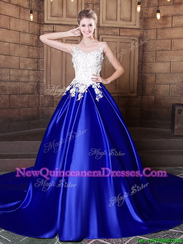 Most Popular Royal Blue Ball Gowns Scoop Sleeveless Elastic Woven Satin With Train Court Train Lace Up Appliques Quince Ball Gowns