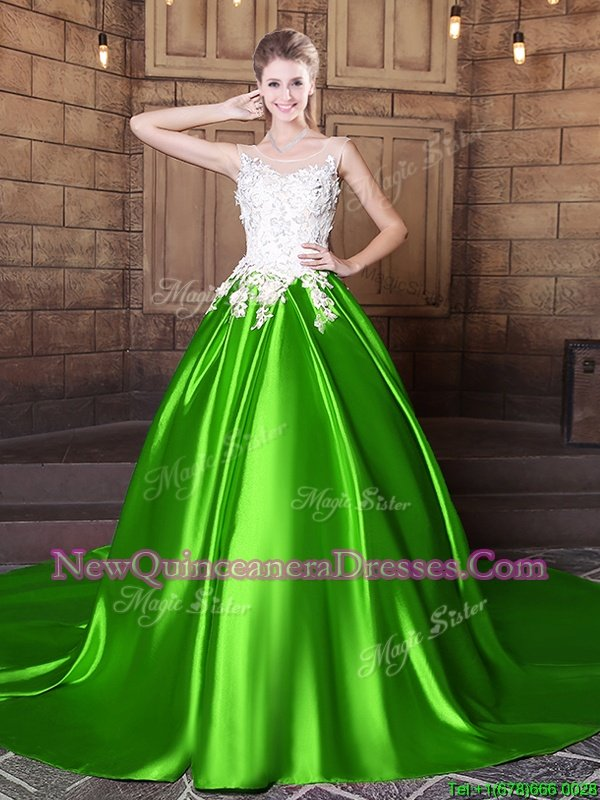Luxurious Spring Green Scoop Neckline Appliques 15 Quinceanera Dress Sleeveless Lace Up