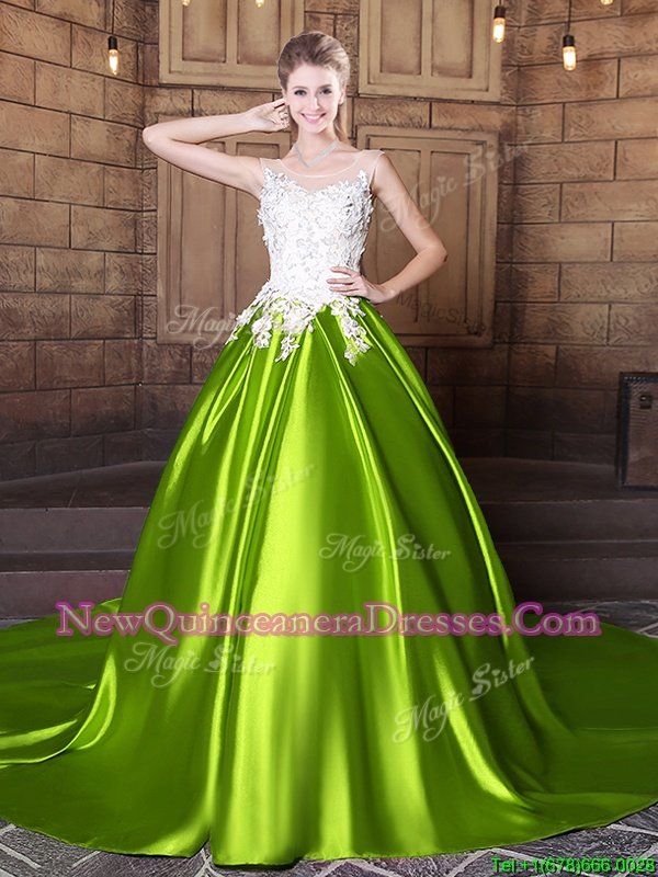 Clearance Scoop Lace and Appliques Quinceanera Dresses Yellow Green Lace Up Sleeveless With Train Court Train