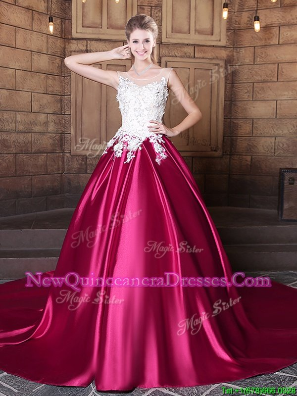 Super Scoop Sleeveless Court Train Lace and Appliques Lace Up Sweet 16 Dresses
