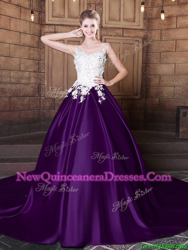 Charming Scoop White And Purple Sleeveless With Train Lace and Appliques Lace Up Quince Ball Gowns