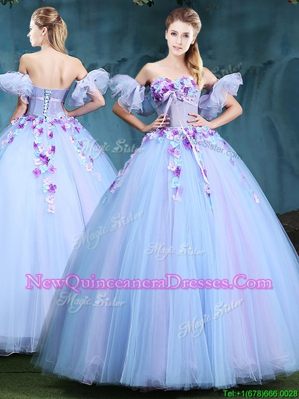 Gorgeous Light Blue Ball Gowns Sweetheart Sleeveless Tulle Floor Length Lace Up Appliques Quince Ball Gowns