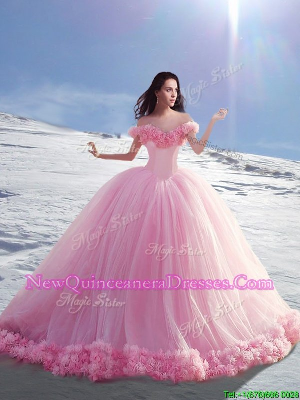Pretty Off the Shoulder Rose Pink Cap Sleeves Court Train Hand Made Flower Ball Gown Prom Dress