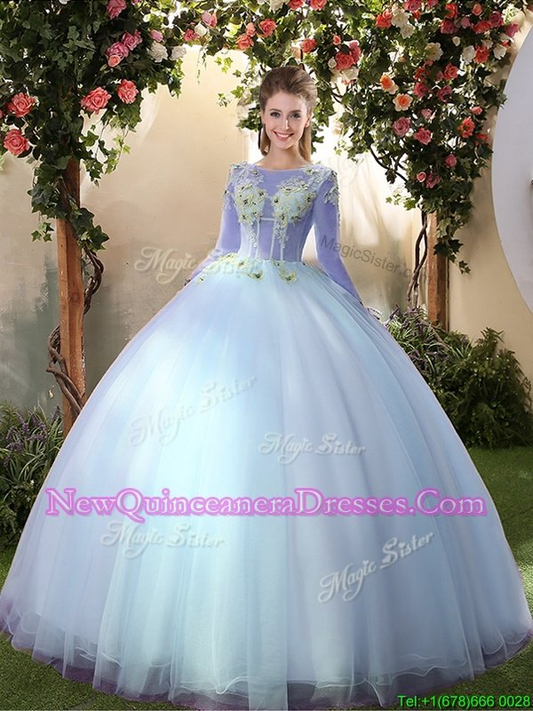 Smart Big Puffy Light Blue Long Sleeves Tulle Lace Up Sweet 16 Dresses for Military Ball and Sweet 16 and Quinceanera