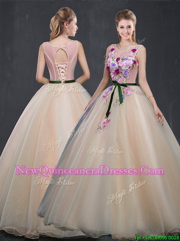 Fine Scoop Champagne Sleeveless Organza Lace Up Vestidos de Quinceanera for Prom and Sweet 16 and Quinceanera