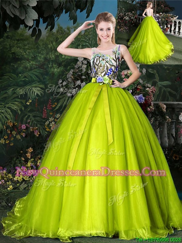 Elegant Scoop Sleeveless Court Train Lace Up 15th Birthday Dress Olive Green Organza