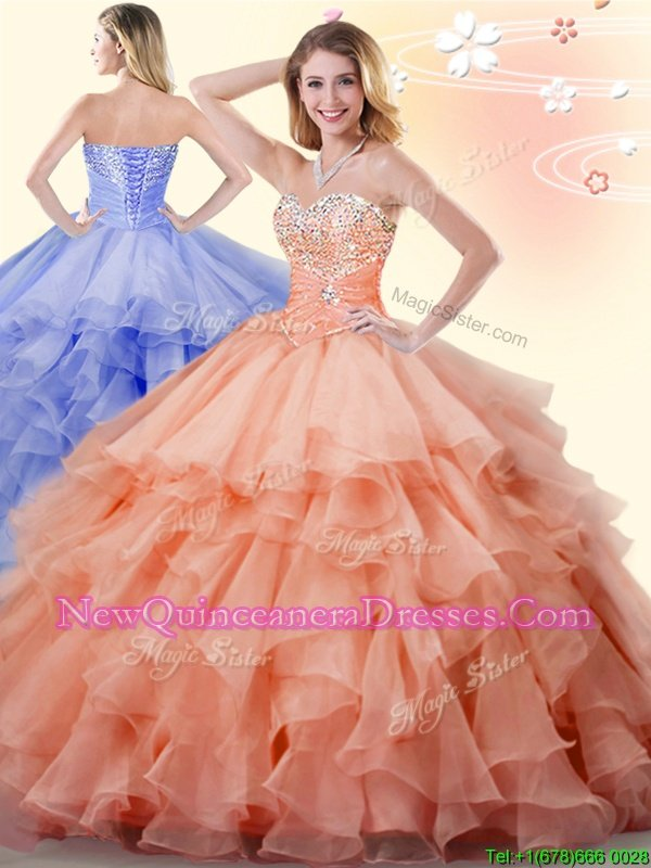 High Quality Orange Ball Gowns Organza Sweetheart Sleeveless Beading and Ruffles Floor Length Lace Up Quinceanera Gown