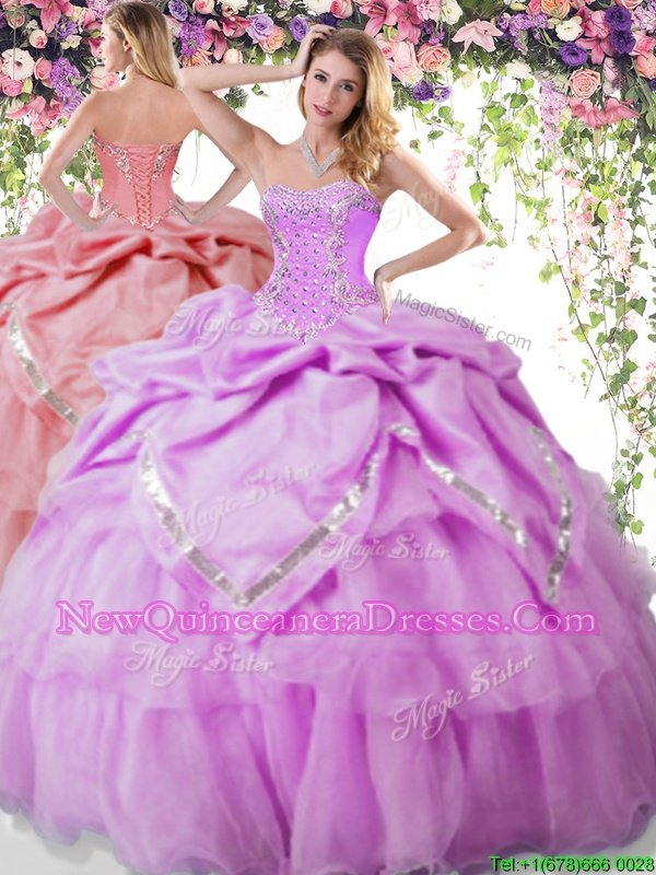 Admirable Floor Length Lace Up Ball Gown Prom Dress Lilac and In for Military Ball and Sweet 16 and Quinceanera withBeading and Pick Ups