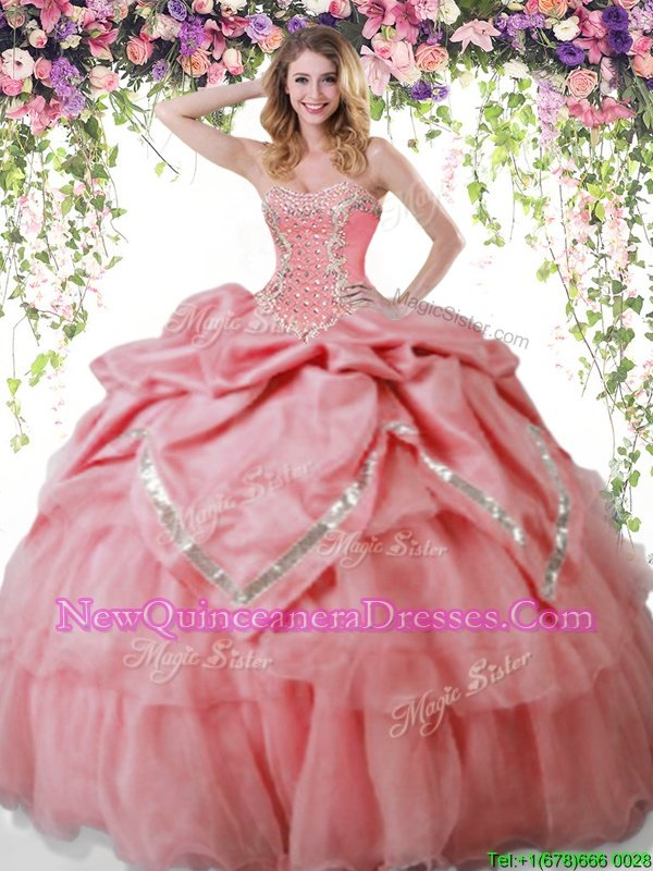 Latest Watermelon Red Quince Ball Gowns Military Ball and Sweet 16 and Quinceanera and For withBeading and Pick Ups Sweetheart Sleeveless Lace Up