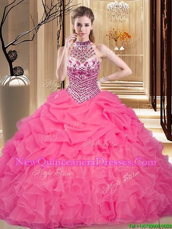 Exquisite Hot Pink Halter Top Neckline Beading and Ruffles and Pick Ups Sweet 16 Dress Sleeveless Lace Up