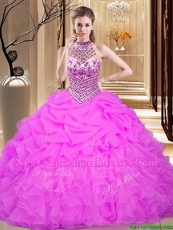 Decent Halter Top Pick Ups Floor Length Ball Gowns Sleeveless Lilac Vestidos de Quinceanera Lace Up