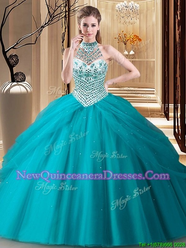 Glamorous Teal Tulle Lace Up Halter Top Sleeveless Quinceanera Dress Brush Train Beading and Pick Ups