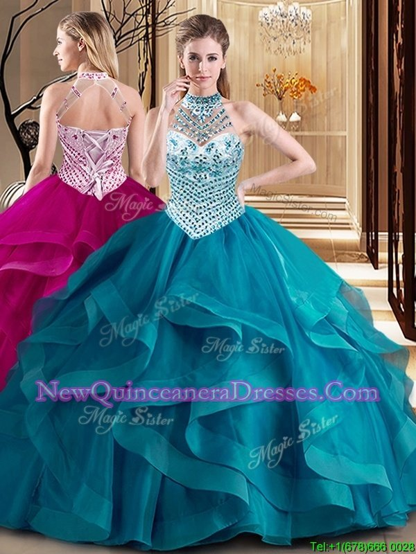 Smart Halter Top Sleeveless With Train Beading and Ruffles Lace Up Vestidos de Quinceanera with Teal Brush Train