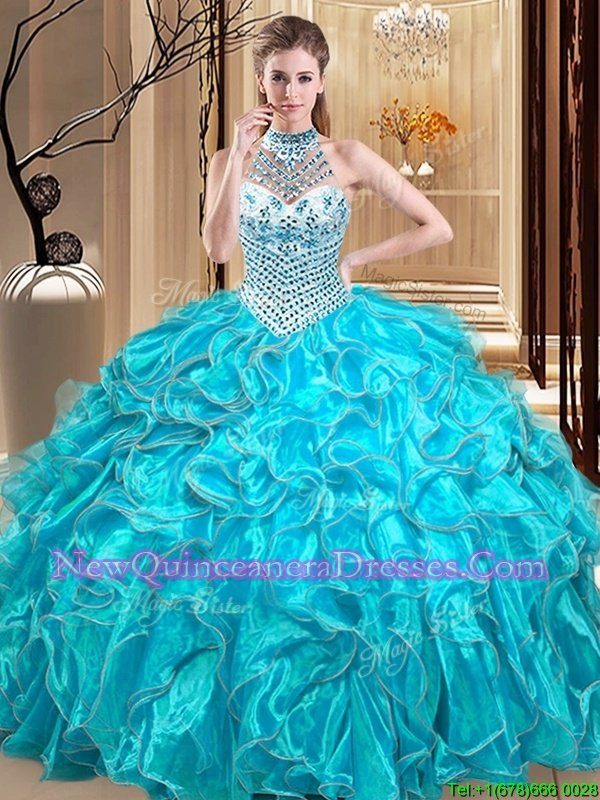 Elegant Organza Halter Top Sleeveless Lace Up Beading and Ruffles Quinceanera Dress inAqua Blue