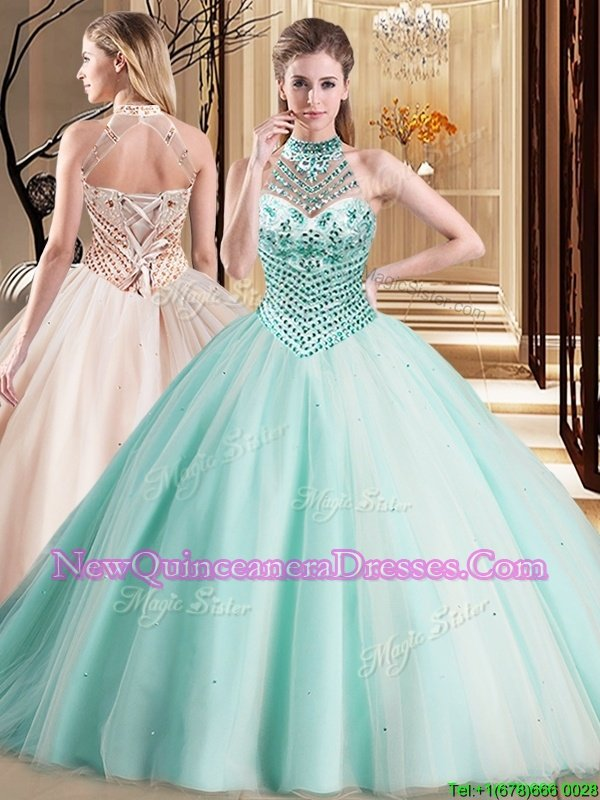 Wonderful With Train Apple Green 15th Birthday Dress Halter Top Sleeveless Brush Train Lace Up