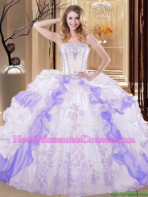 Wonderful Sleeveless Floor Length Embroidery and Ruffled Layers Lace Up Sweet 16 Quinceanera Dress with White and Purple