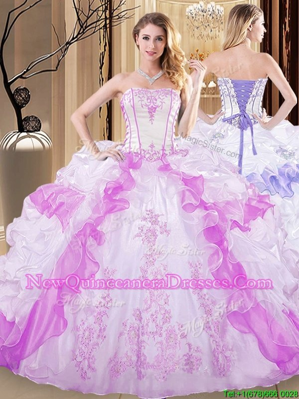 Sumptuous Ruffled Floor Length White and Lilac Ball Gown Prom Dress Strapless Sleeveless Lace Up