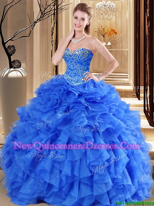 Perfect Royal Blue Tulle Lace Up Quinceanera Dress Sleeveless Floor Length Beading and Ruffles