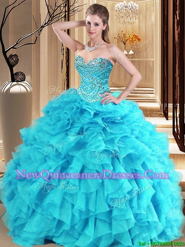 Sweet Aqua Blue and Turquoise Ball Gowns Beading and Ruffles 15th Birthday Dress Lace Up Organza Sleeveless Floor Length