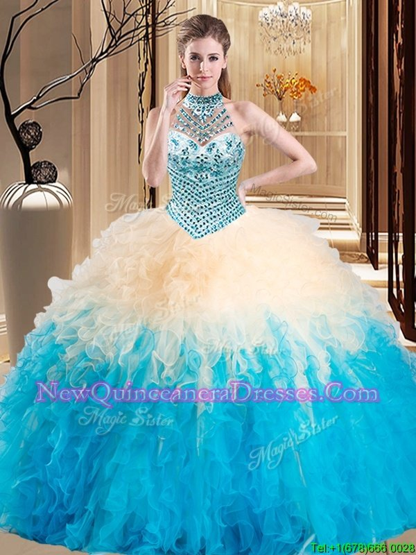 Halter Top Floor Length Ball Gowns Sleeveless Multi-color Sweet 16 Dresses Lace Up