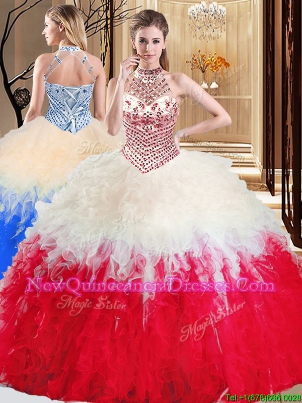 Stunning Halter Top Sleeveless Vestidos de Quinceanera Floor Length Beading and Ruffles White And Red Tulle