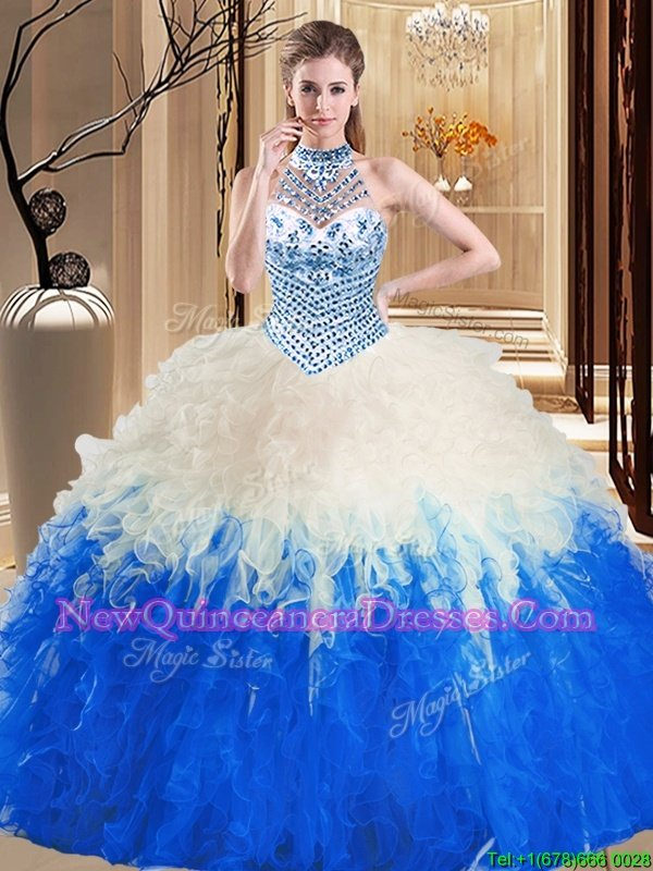 Pretty Halter Top Spring and Summer and Fall and Winter Tulle Sleeveless Floor Length Sweet 16 Dresses andBeading and Ruffles