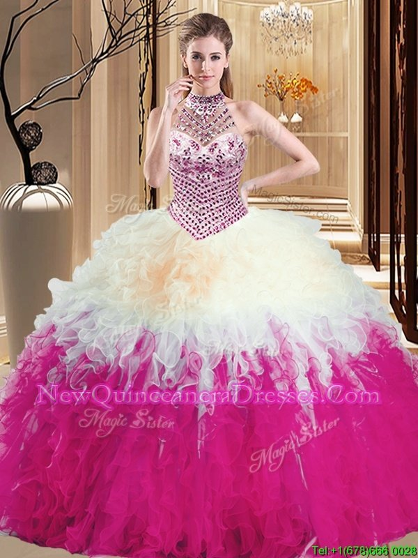 Pretty Halter Top Floor Length Lace Up Quinceanera Dress Multi-color and In for Military Ball and Sweet 16 and Quinceanera withBeading and Ruffles