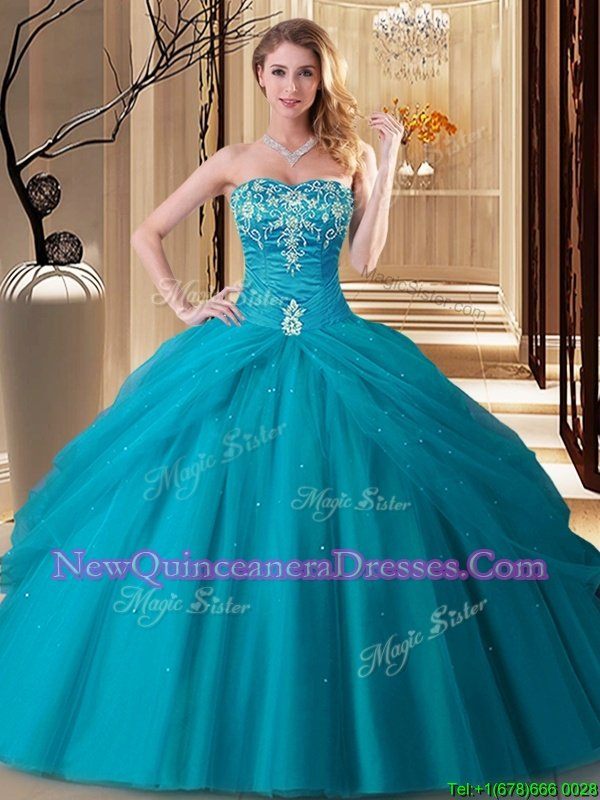Top Selling Teal Ball Gowns Embroidery Quinceanera Dresses Lace Up Tulle Sleeveless Floor Length
