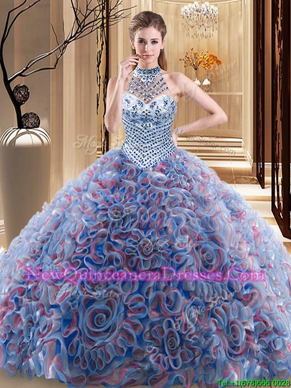 New Style Halter Top Sleeveless Quinceanera Dress With Brush Train Beading Multi-color Fabric With Rolling Flowers
