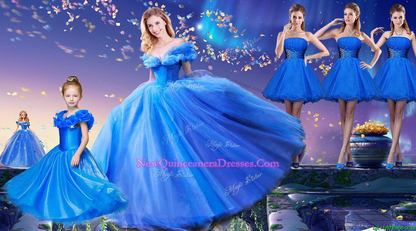Perfect Off The Shoulder Short Sleeves Sweet 16 Dresses Floor Length Appliques and Bowknot Royal Blue Tulle